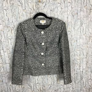 Talbots Petite sz 8 black window patterned jacket